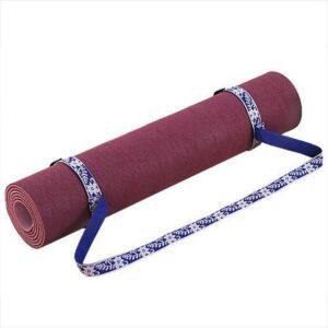 Yogamat draagriem, kleur paars met bloemmotief
